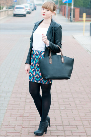 blue pull&amp;bear skirt - black sholove boots - dark gray Zara jacket