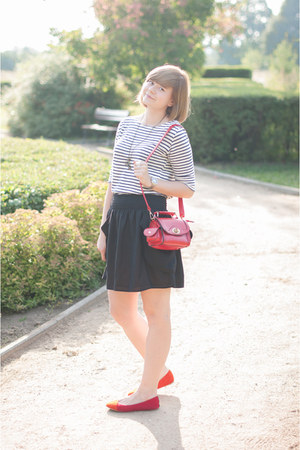 red OASAP bag - red sholove flats - black H&amp;M skirt