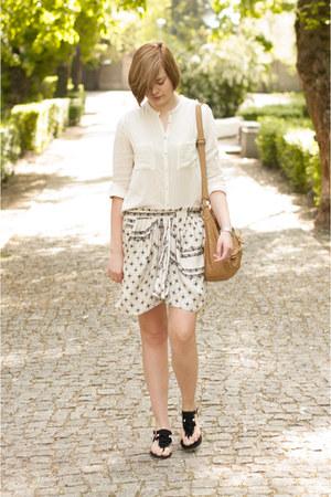 white Zara skirt - eggshell Zara shirt