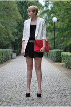 black H&M jumper - white H&M blazer - hot pink Ebay bag - black H&M wedges
