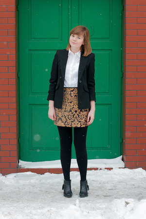black Zara skirt - black marks&amp;spancer blazer - white H&amp;M shirt