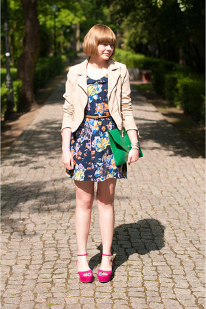 hot pink sholove wedges - navy Motel Rocks dress - peach H&M jacket