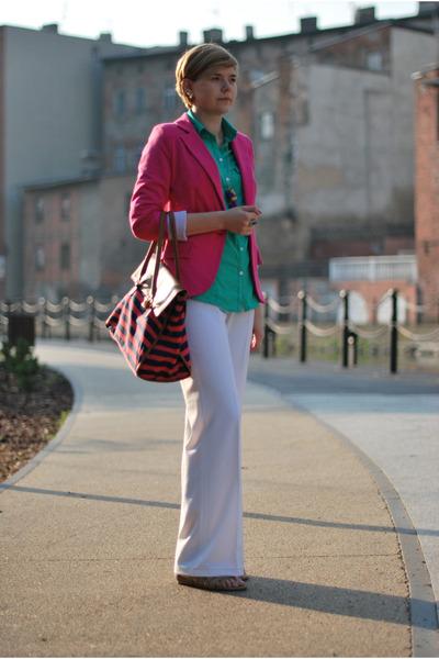 no brand blazer - Bershka shirt - H&M bag - no brand pants