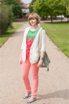 red Sheinside t-shirt - light pink Cubus pants - white Zara cardigan