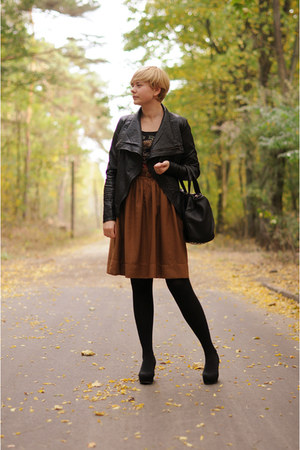 brown H&M skirt - black H&M wedges