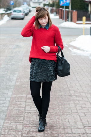 red pull&bear jumper - blue H&M shirt - black Zara skirt