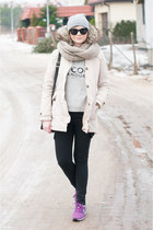 beige Bershka coat - black H&M jeans - heather gray Mango blouse