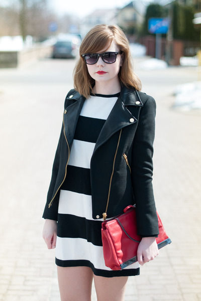 black Zara jacket - white Mango dress - red Zara bag