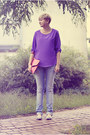 Light-blue-gestuz-jeans-purple-zara-shirt-bubble-gum-ebay-bag