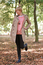 black H&M boots - tan pull&bear coat - light pink GINA TRICOT jumper