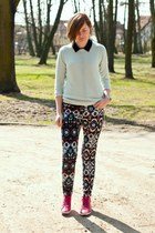 navy Zara pants - aquamarine Zara jumper - hot pink Buffalo sneakers