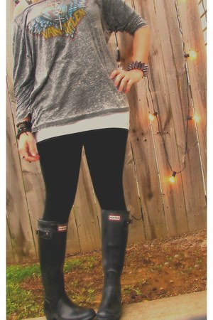 black Hunter boots - black new york & co leggings - charcoal gray van halen Cout
