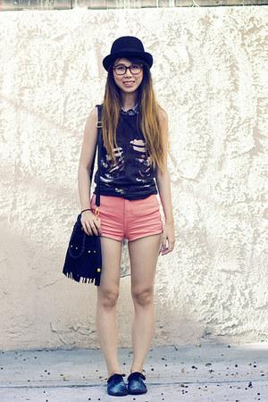 coral American Apparel shorts - black DIY shoes - heather gray Zara top