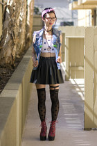 black American Apparel stockings - black Wasteland skirt - sky blue DIY vest