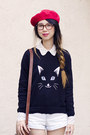American-apparel-hat-american-apparel-shorts-asos-jumper-asos-flats