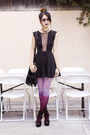 Black-topshop-dress-magenta-choies-tights-black-unknown-brand-bag