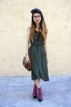 red Jeffrey Campbell wedges - green Urban Outfitters dress