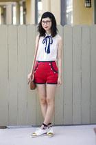 red asos shorts - white le bunny bleu shoes - white American Apparel blouse