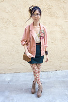 bubble gum American Apparel jacket - nude floral unknown leggings