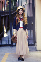 beige unknown hat - black American Apparel shoes - navy Urban Outfitters blazer