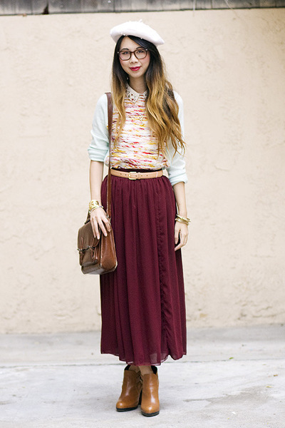 brick red American Apparel skirt - tawny sam edelman boots - ivory H&amp;M hat