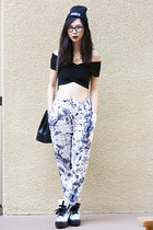 black Nasty Gal top - black ragged priest hat - white Topshop pants