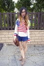 White-unif-sweater-brown-urban-outfitters-bag-blue-american-apparel-shorts