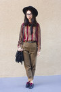 Black-nasty-gal-hat-brown-vintage-pants-brick-red-vintage-blouse