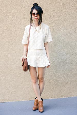 off white Choies top - off white Choies skirt
