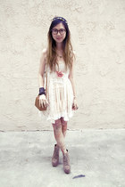 tan Urban Outfitters stockings - off white Vintage Opulence dress