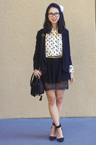 black Urban Outfitters blazer - ivory American Apparel blouse