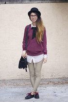 maroon American Apparel sweater - black American Apparel shoes - black asos hat