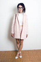 light pink Topshop coat - light pink Topshop skirt - white Urban Outfitters top