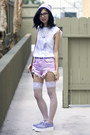Light-purple-tuk-shoes-periwinkle-thank-you-mart-hat-white-diy-shirt