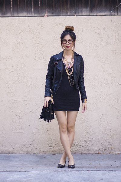 black American Apparel dress - black Topshop jacket - black Akira Chicago bag