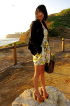 black - yellow f21 dress - beige Jessica Simpson shoes - brown