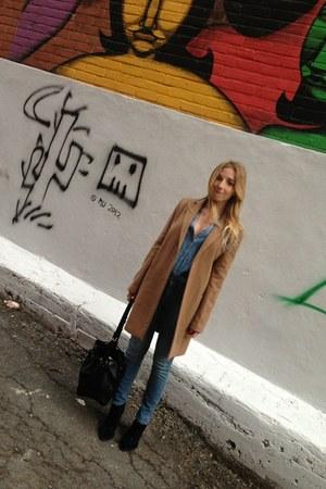 Mango coat - Zara boots - Guess jeans - Louis Vuitton bag