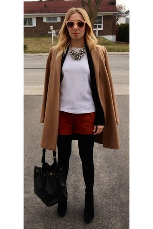 Mango coat - Louis Vuitton purse - Forever21 shorts - zeroUV sunglasses