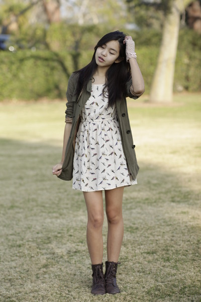 peach H&M dress - dark brown Forever 21 boots - olive green Forever 21 jacket