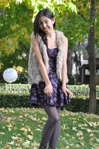 tan faux fur unknown vest - blue Macys dress - amethyst Forever 21 tights