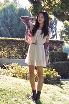 brown patterned H&M cardigan - dark brown lace-up Forever 21 boots