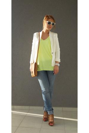 white blazer - sky blue jeans - tan bag - white sunglasses - yellow neon blouse