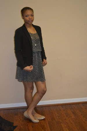asos dress - Macys blazer - Ebay necklace - kohls flats