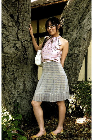 white coach bag - yellow xhilaration flats - navy skirt - white H&M belt - pink