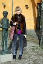 fur vest - Ichi jacket - Vibskov accessories - Dr Denim jeans - asos t-shirt