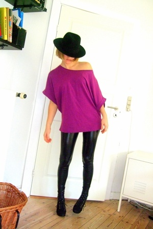 asos hat - asos t-shirt - leggings - Netto socks - H&M shoes