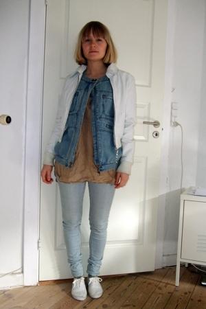 jacket - H&M Trend vest - Holly shirt - pieces jeans - shoes