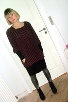 vintage dress - Zebto leggings - vintage boots