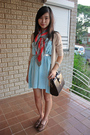 Blue-thrifted-dress-beige-random-cardigan-brown-thrifted-bag-accessories-b