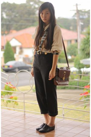 black thrifted pants - beige thrifted blouse - brown thrifted purse - black thri